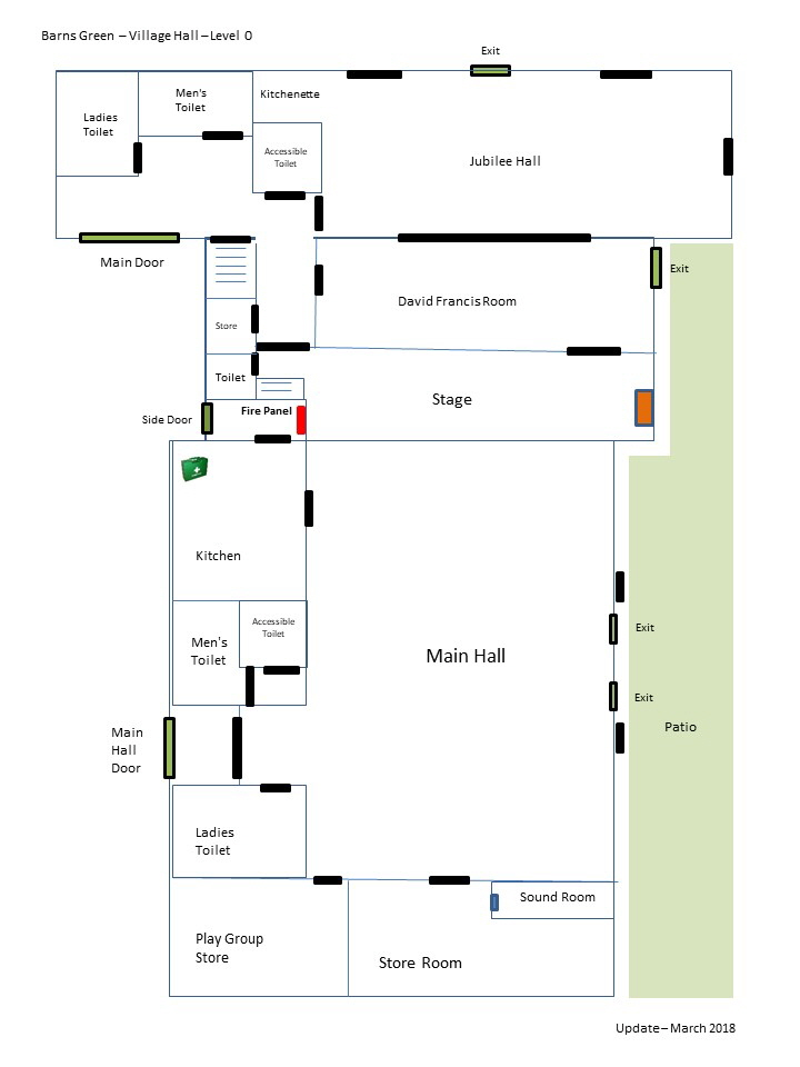 Village Hall Layout - Not to scale - Level 0 - March 2017 with Exits